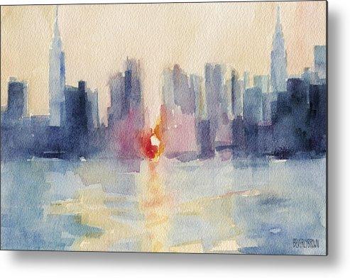 New York Metal Print featuring the painting Manhattanhenge New York Skyline Painting by Beverly Brown