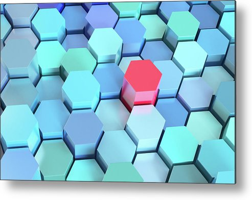 Grid Metal Print featuring the photograph Many Blue Hexagons, Various Heights by Dimitri Otis