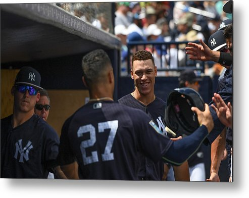 People Metal Print featuring the photograph Miami Marlins v New York Yankees by Mark Brown