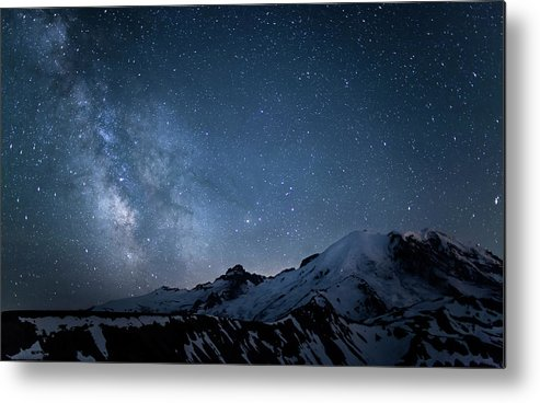 Scenics Metal Print featuring the photograph Milky Way Over Mount Rainier by Ed Leckert