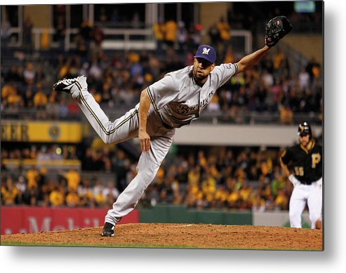 Ninth Inning Metal Print featuring the photograph Milwaukee Brewers V Pittsburgh Pirates by Justin K. Aller