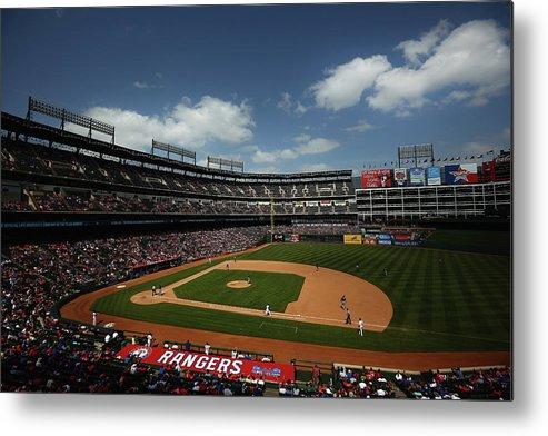 American League Baseball Metal Print featuring the photograph Minnesota Twins V Texas Rangers by Tom Pennington