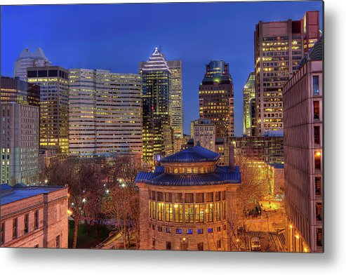 Tranquility Metal Print featuring the photograph Montreal Downtown At Dusk Hdr II by Jean Surprenant