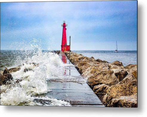 Lake Michigan Metal Print featuring the photograph Muskegon Channel South Pier Lighthouse and Wave, Lake Michigan by Photography by Deb Snelson