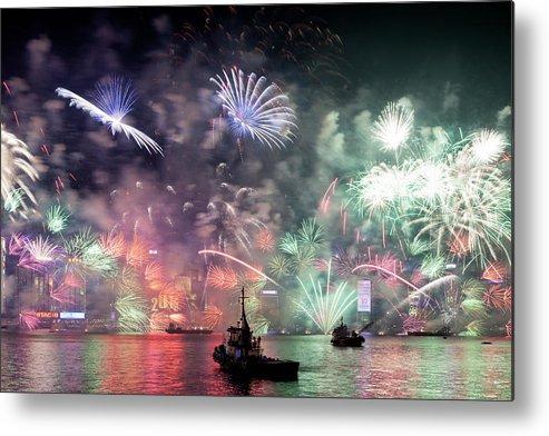 Firework Display Metal Print featuring the photograph New Year Fireworks Hong Kong Asia by Steffen Schnur