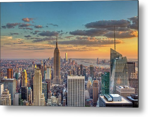Tranquility Metal Print featuring the photograph New York Skyline Sunset by Basic Elements Photography
