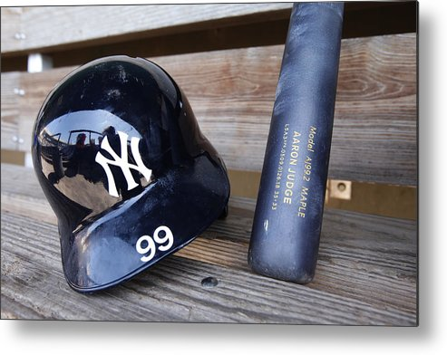 Headwear Metal Print featuring the photograph New York Yankees v Baltimore Orioles by Mike McGinnis