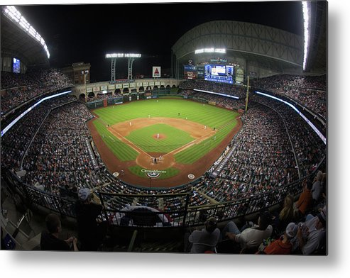 American League Baseball Metal Print featuring the photograph New York Yankees V Houston Astros by Bob Levey