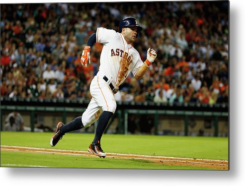People Metal Print featuring the photograph New York Yankees V Houston Astros by Scott Halleran