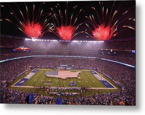 Firework Display Metal Print featuring the photograph Nfl Sep 18 Lions At Giants by Icon Sportswire