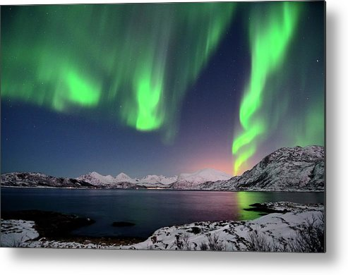 Tranquility Metal Print featuring the photograph Northern Lights And Moonlit Landscape by John Hemmingsen