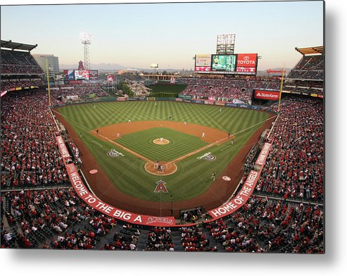 American League Baseball Metal Print featuring the photograph Oakland Athletics V Los Angeles Angels by Jeff Gross
