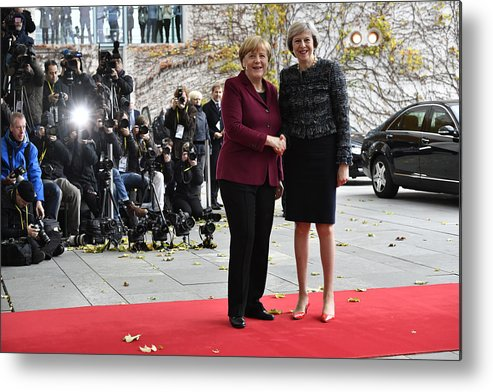 Theresa May Metal Print featuring the photograph Obama Meets With European Leaders In Berlin by Alexander Koerner