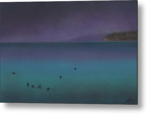Nature Metal Print featuring the painting Ocean of Glass with Seabirds by Robin Street-Morris