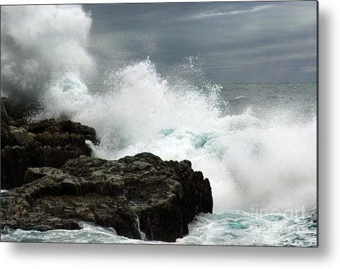 Seascape Metal Print featuring the photograph War Of Water by Glenda Wright