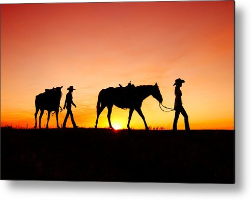 Cowgirls Metal Print featuring the photograph Off to the Barn by Todd Klassy