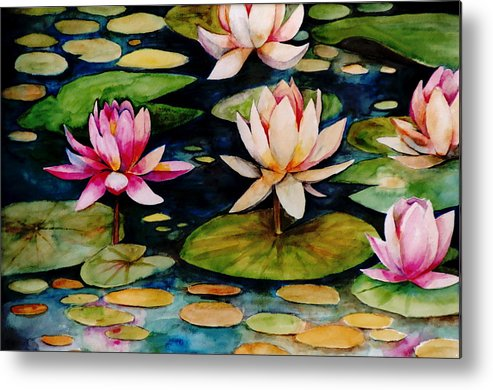 Lily Metal Print featuring the painting On Lily Pond by Jun Jamosmos