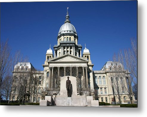 Democracy Metal Print featuring the photograph Outside view of the Illinois State Capitol Building by On-Track