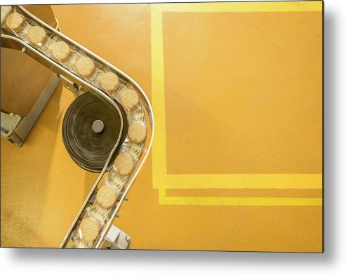 Manufacturing Equipment Metal Print featuring the photograph Overhead View Of Freshly Made Biscuits by Monty Rakusen