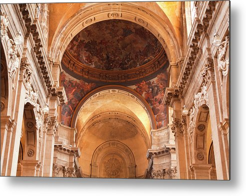 Arch Metal Print featuring the photograph Painted Ceiling Inside The Cathedral At by Julian Elliott Photography