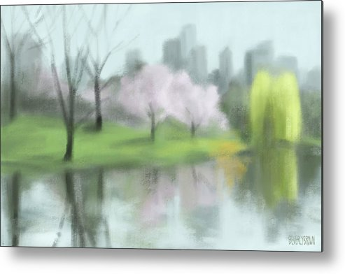 New York Metal Print featuring the painting Painting of Central Park in Spring by Beverly Brown Prints