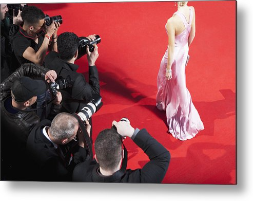 People Metal Print featuring the photograph Paparazzi taking pictures of celebrity on red carpet by Robert Daly