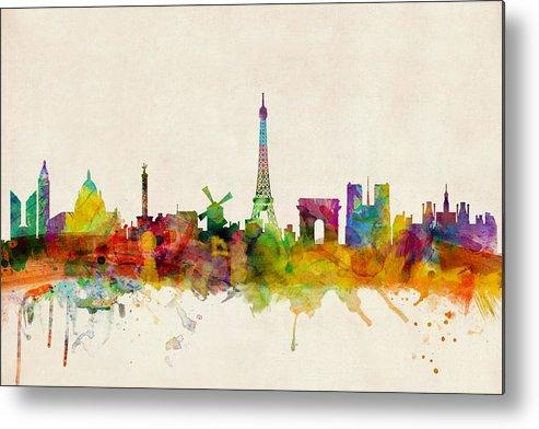 Paris Metal Print featuring the digital art Paris France Skyline Panoramic by Michael Tompsett