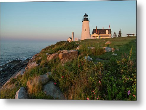 Tranquility Metal Print featuring the photograph Pemaquid Point Maine Lighthouse by Dave Mention Photography