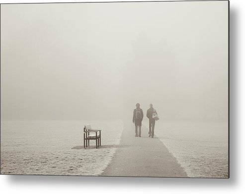 Cool Attitude Metal Print featuring the photograph People Walking On A Misty Morning by Elaine W Zhao