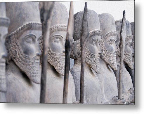 People Metal Print featuring the photograph Persian warriors in line by FrankvandenBergh