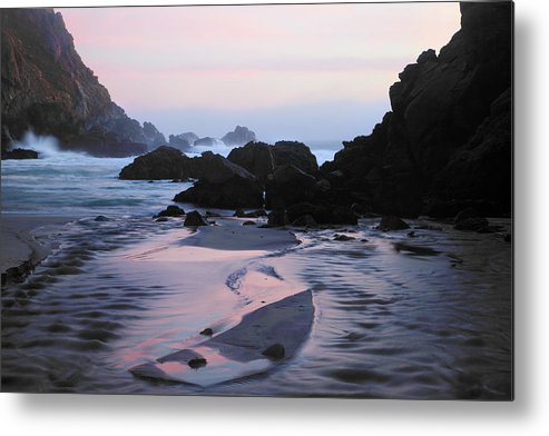 Water's Edge Metal Print featuring the photograph Pfeiffer Beach Rocks, Purple Sand And by Terryfic3d