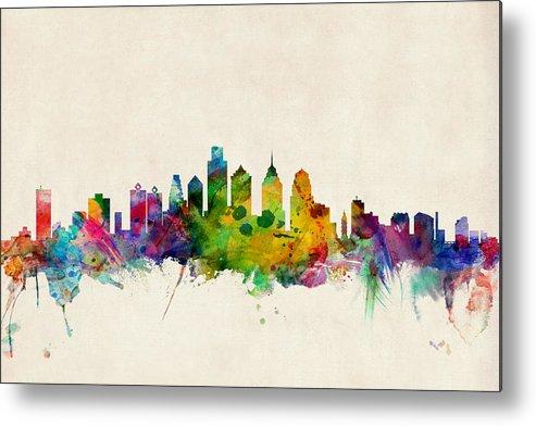 Watercolour Metal Print featuring the digital art Philadelphia Skyline by Michael Tompsett