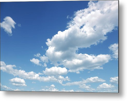 Scenics Metal Print featuring the photograph Photo of some white whispy clouds and blue sky cloudscape by Kertlis