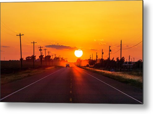 Saturated Color Metal Print featuring the photograph Pickup Truck At Sunset On West Texas by Dszc