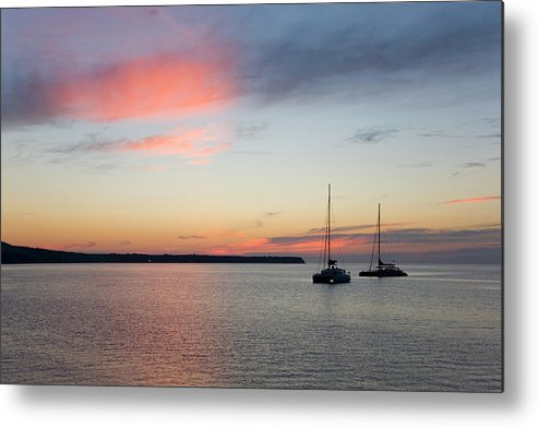 Scenics Metal Print featuring the photograph Pink Sky After Sunset, Oia, Santorini by David C Tomlinson