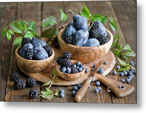 Plum Metal Print featuring the photograph Plums And Berries by Verdina Anna