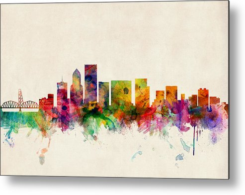 Watercolour Metal Print featuring the digital art Portland Oregon Skyline by Michael Tompsett