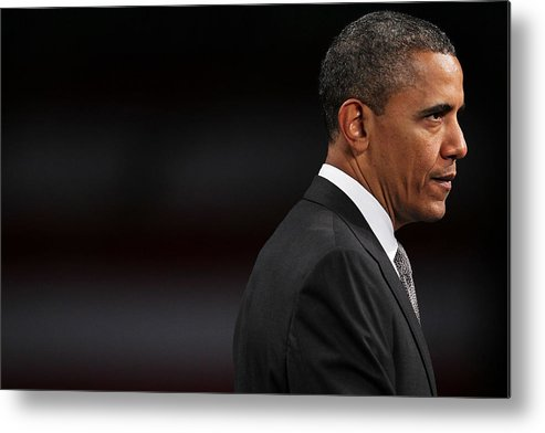 People Metal Print featuring the photograph President Obama Speaks On The Economy by Spencer Platt