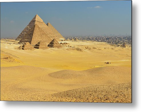 Built Structure Metal Print featuring the photograph Pyramids Of Giza by Raimund Linke