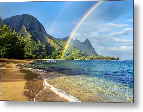 Amazing Metal Print featuring the photograph Rainbow over Haena Beach by M Swiet Productions