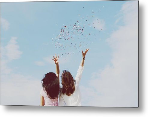 People Metal Print featuring the photograph Rear View Of Women Throwing Confetti by Raquel Perez Garrido / Eyeem