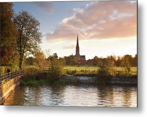 Tranquility Metal Print featuring the photograph Salisbury Cathedral And The River Avon by Julian Elliott Photography
