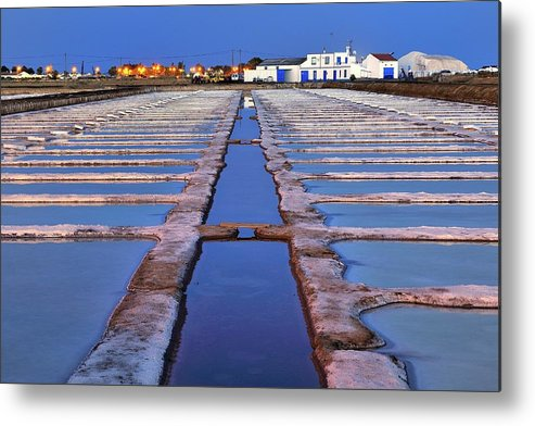 Tranquility Metal Print featuring the photograph Salt Beds - Tavira, Portugal by Joao Figueiredo