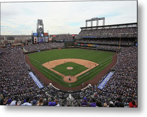 National League Baseball Metal Print featuring the photograph San Diego Padres V Colorado Rockies by Doug Pensinger