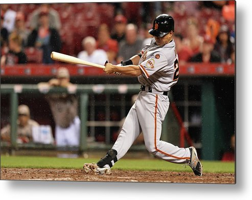 Great American Ball Park Metal Print featuring the photograph San Francisco Giants V Cincinnati Reds by Jamie Sabau