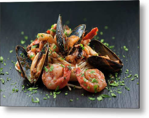 Prawn Metal Print featuring the photograph Seafood Pasta by Cbording
