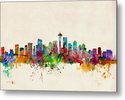 Watercolour Metal Print featuring the digital art Seattle Washington Skyline by Michael Tompsett