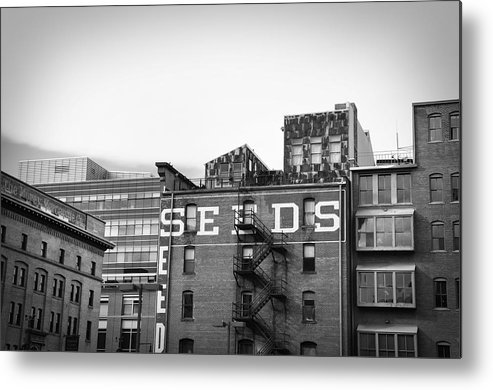 Black And White Metal Print featuring the photograph Seeds Building Two by Todd Hartzo