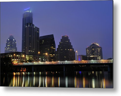 Color Image Metal Print featuring the photograph Skyline And Bridge In Austin by Aimintang