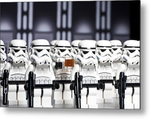 Lego Metal Print featuring the photograph Sneaky Beer by Samuel Whitton